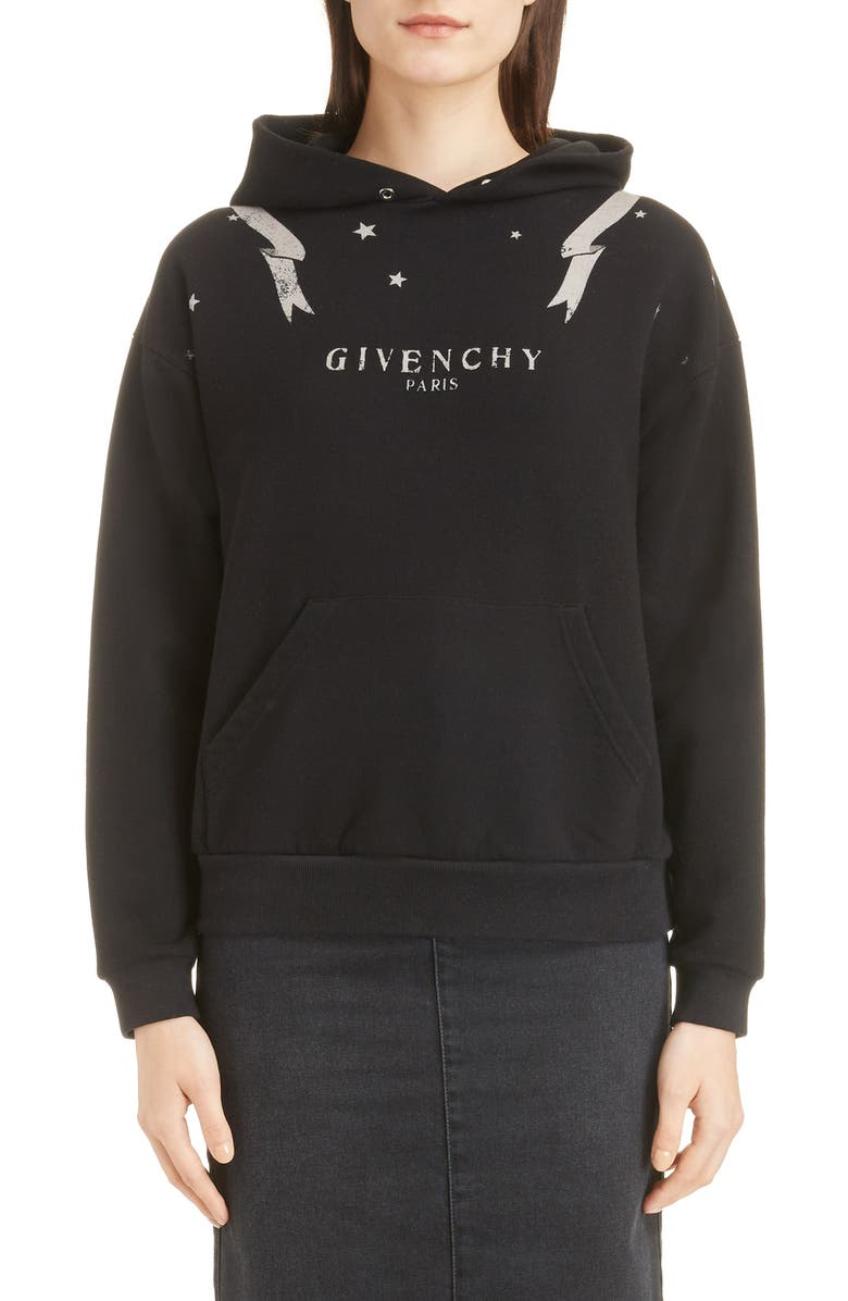 GIVENCHY Gemini Graphic Hoodie, Main, color, 001