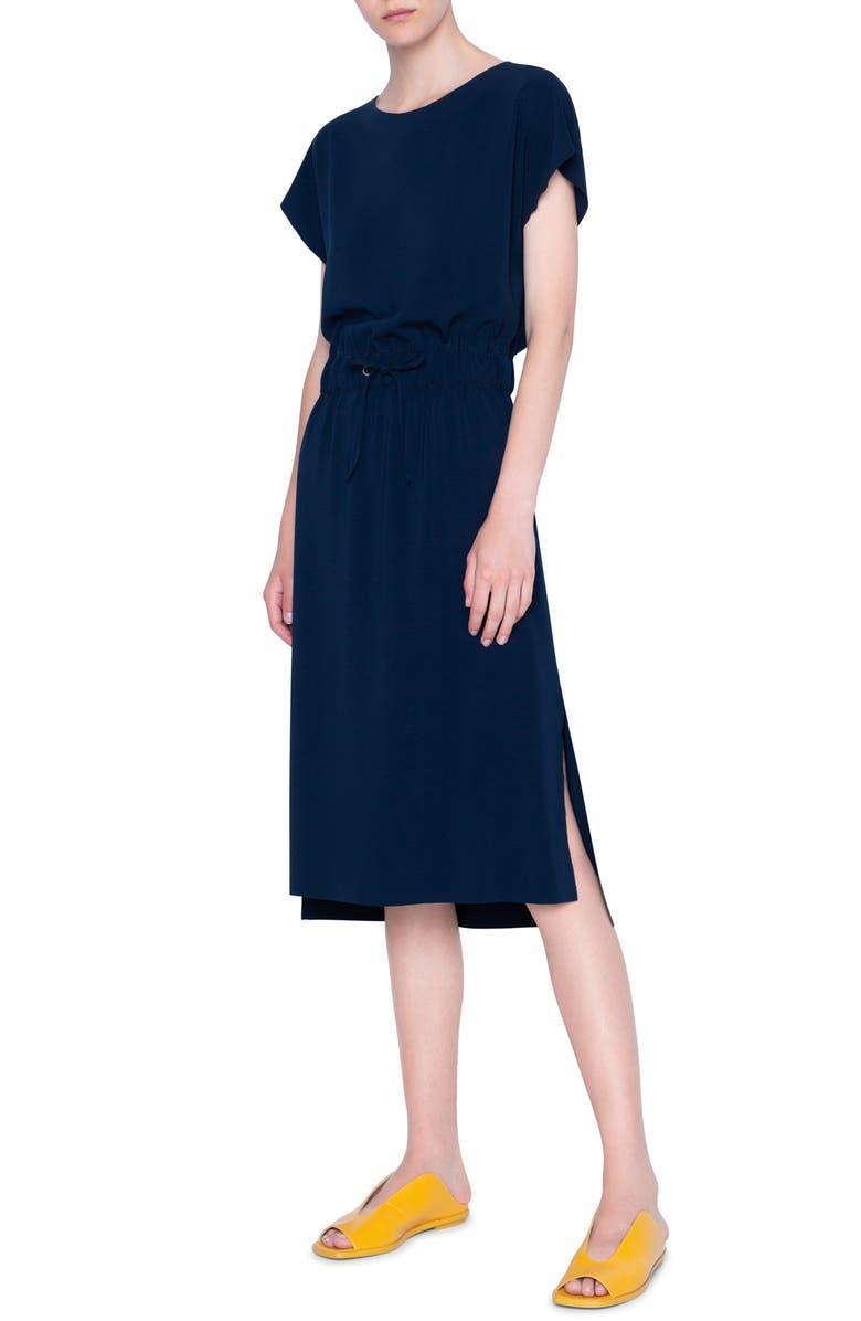 AKRIS PUNTO Short Sleeve Blouson Dress, Main, color, NIGHT SKY