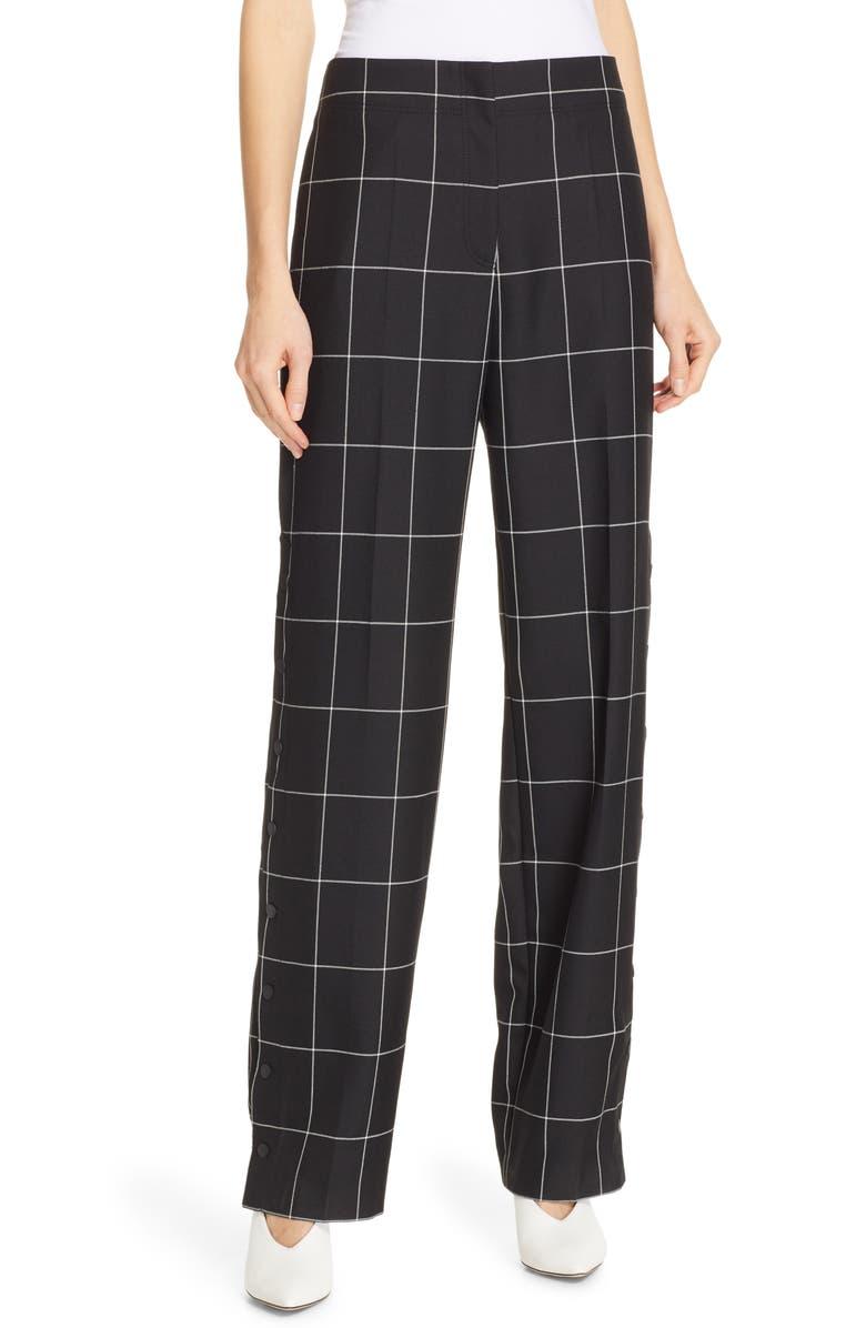 HUGO Hilani Windowpane Trousers, Main, color, 001