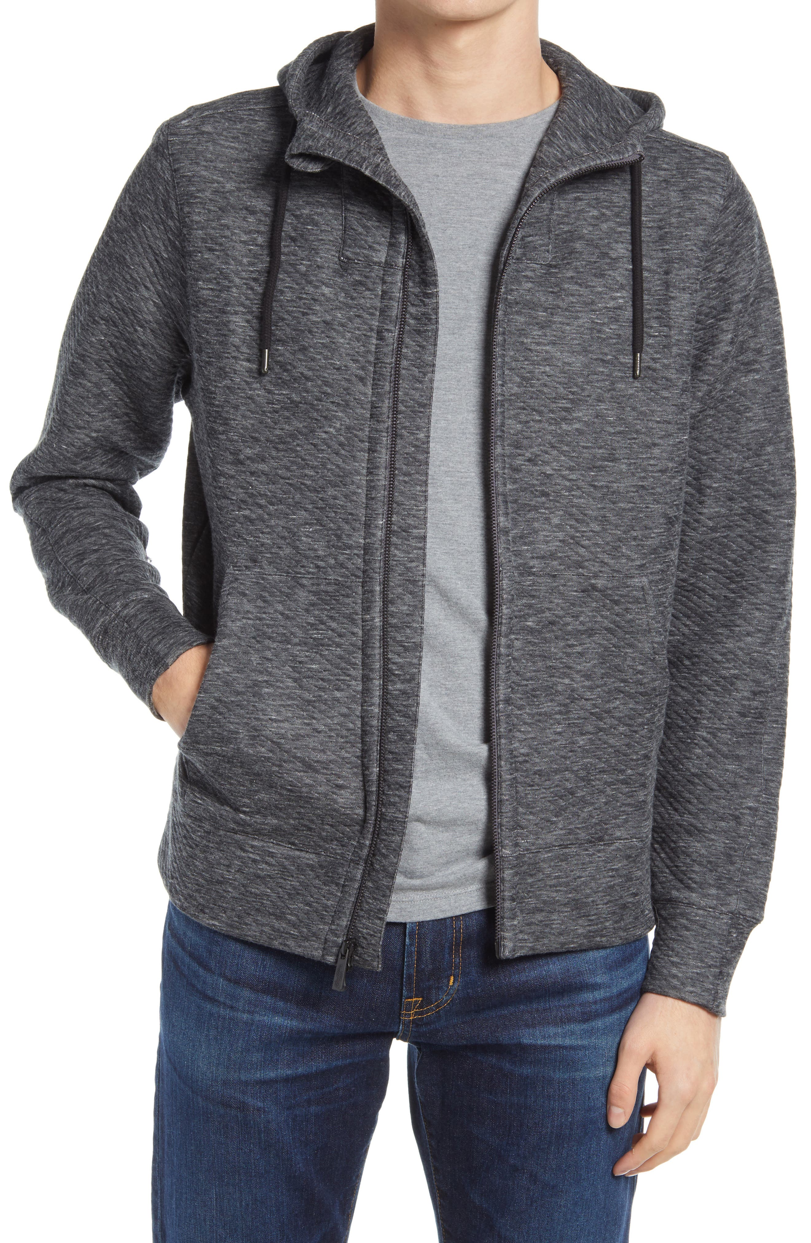 Subtle diagonal ribbing brings sporty angles to a zip-up cut from a soft cotton-blend French terry with a layered hood and front pockets for added coverage in the cold. Style Name: Good Man Brand Pro Slim Fit Zip Hoodie. Style Number: 5906788. Available in stores.