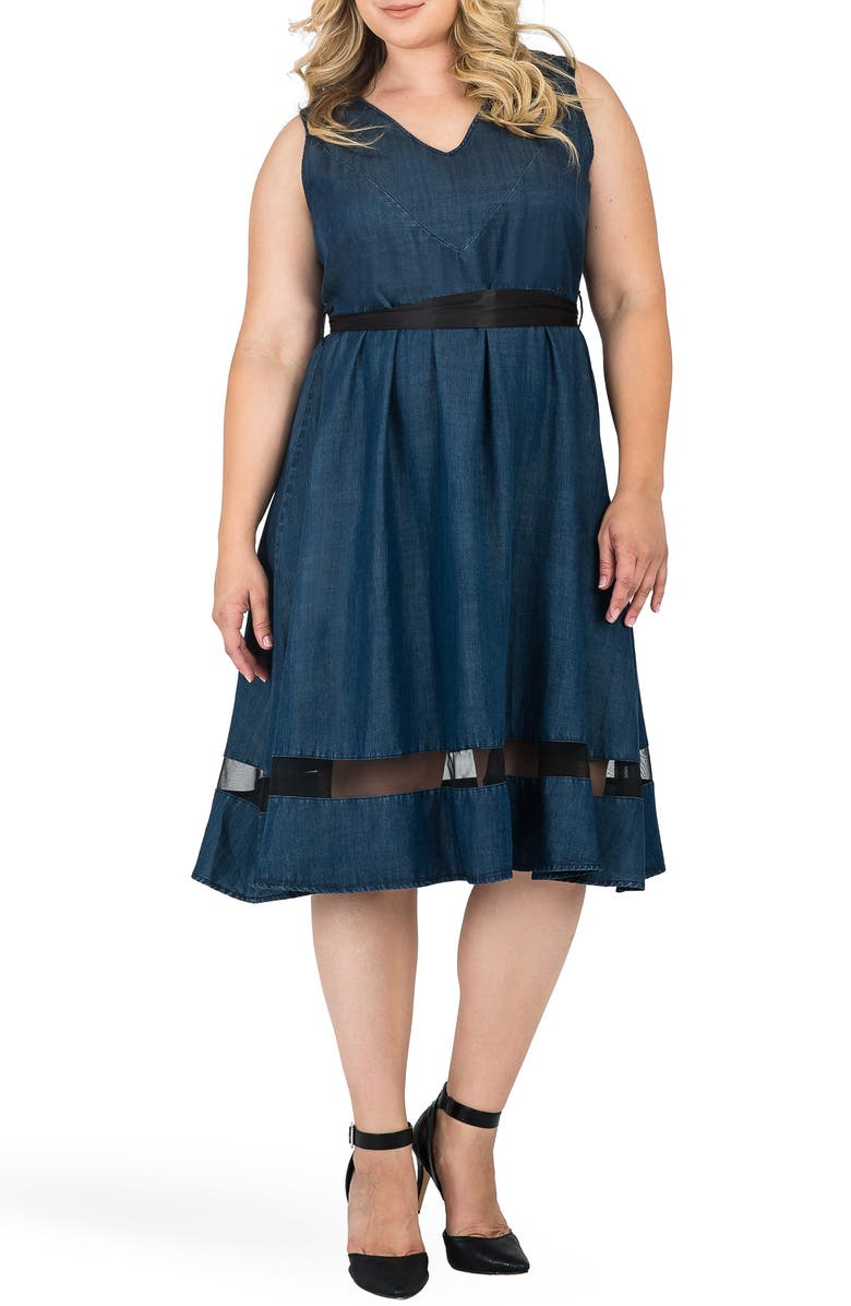 STANDARDS & PRACTICES Julia Illusion Mesh Trim Dress, Main, color, BLUE