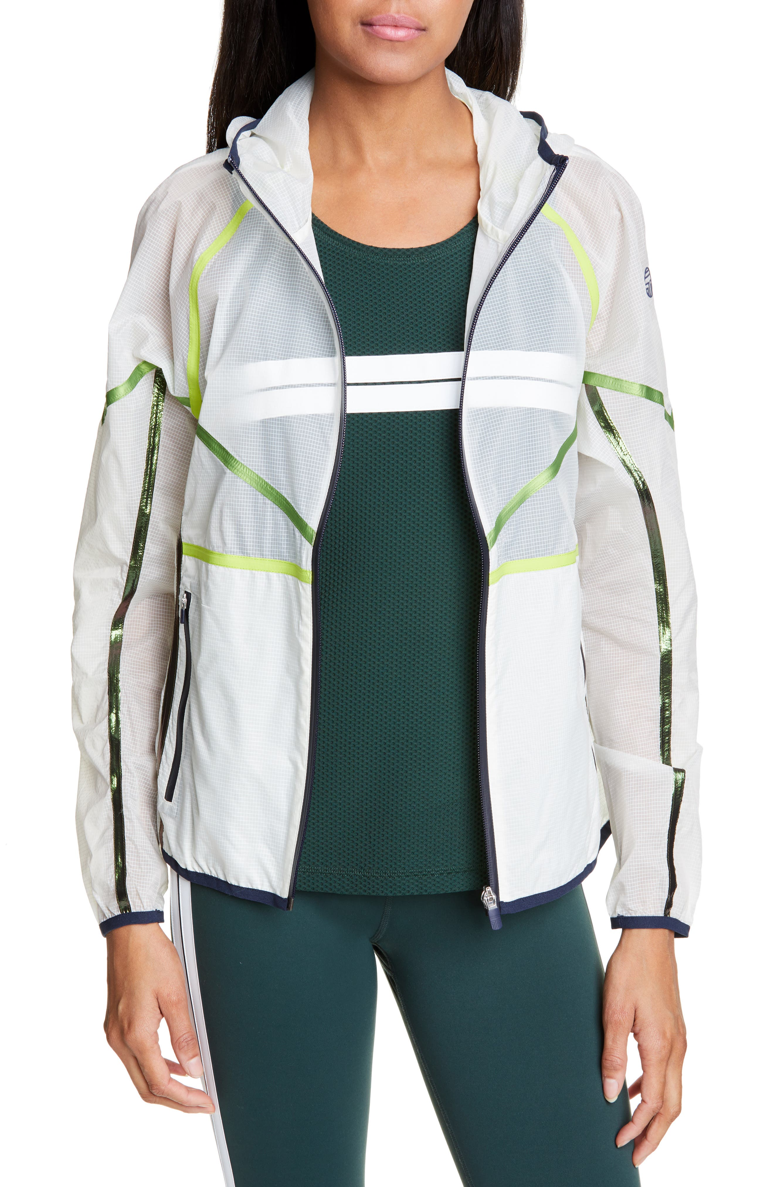 Tory Sport Coats Ripstop Nylon Hooded Running Jacket