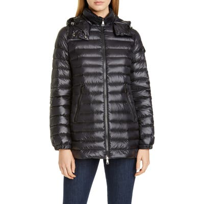 Moncler Menthe Hooded Lightweight Down Puffer Jacket, (fits like 0-2 US) - Black