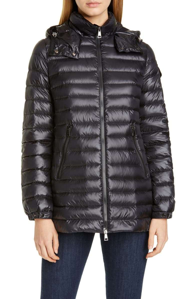 MONCLER Menthe Hooded Lightweight Down Puffer Jacket, Main, color, BLACK