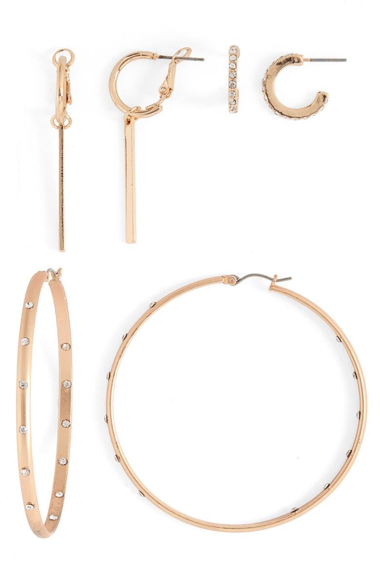 BP. Set of 3 Hoop Earrings, Main, color, CLEAR- GOLD