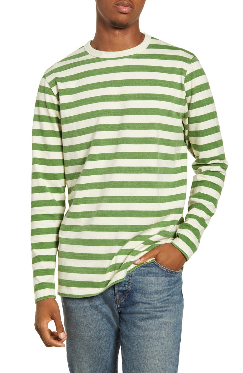BANKS JOURNAL Lochie Stripe Organic Cotton Crewneck Sweatshirt, Main, color, BASIL