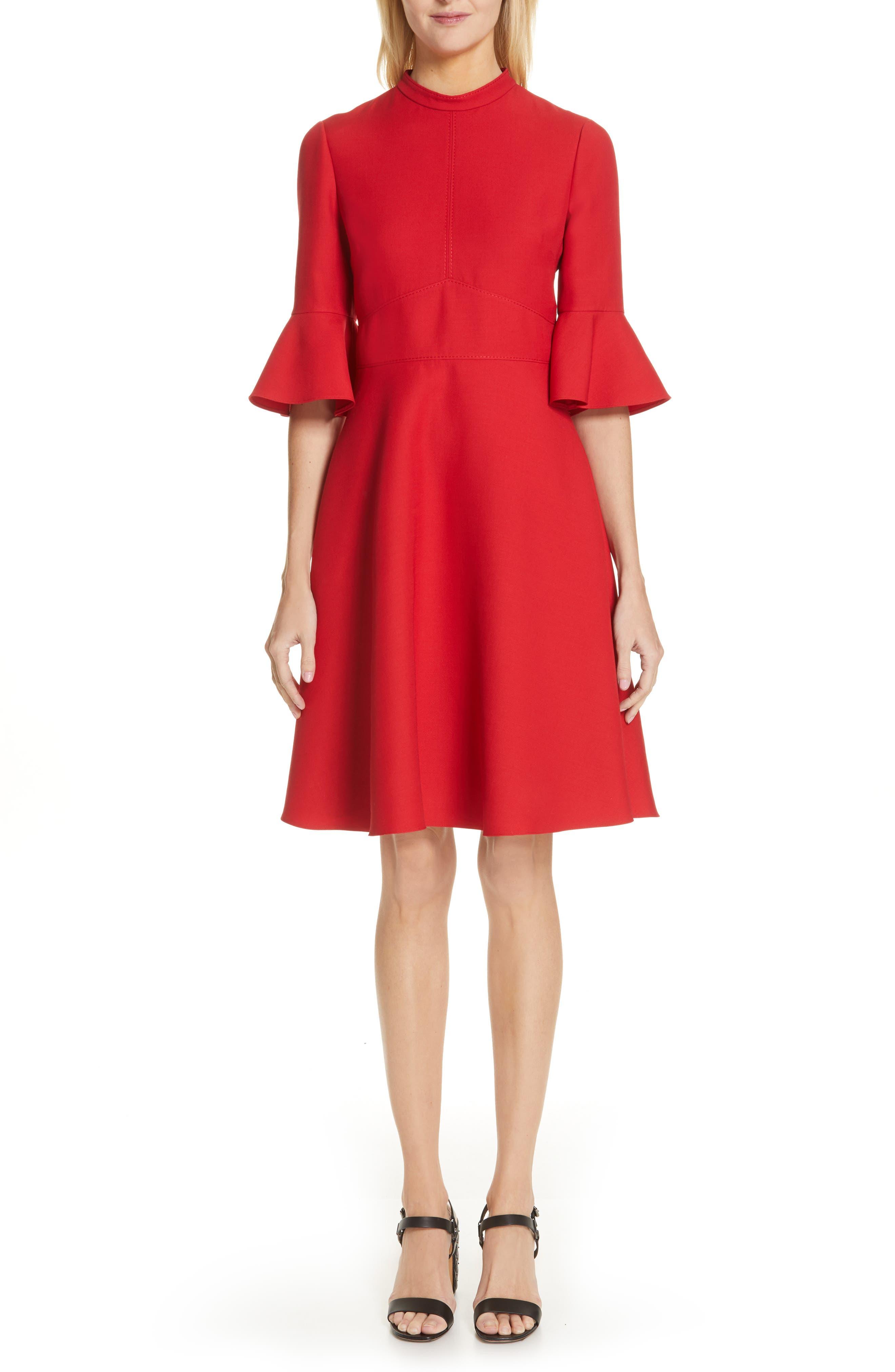 Valentino Ruffle Sleeve Crepe Dress, Red