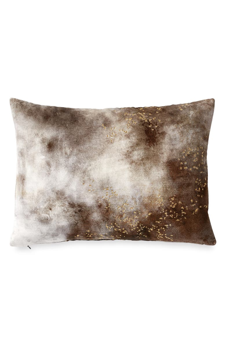 MICHAEL ARAM Painted Sky Metallic Stitch Velveteen Accent Pillow, Main, color, BROWN