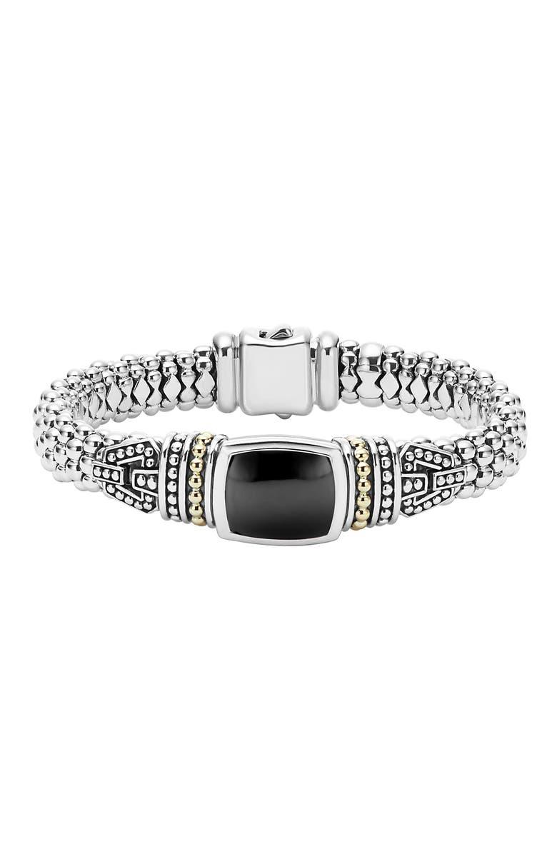 LAGOS 'Caviar Color' Semiprecious Stone Bracelet, Main, color, BLACK ONYX