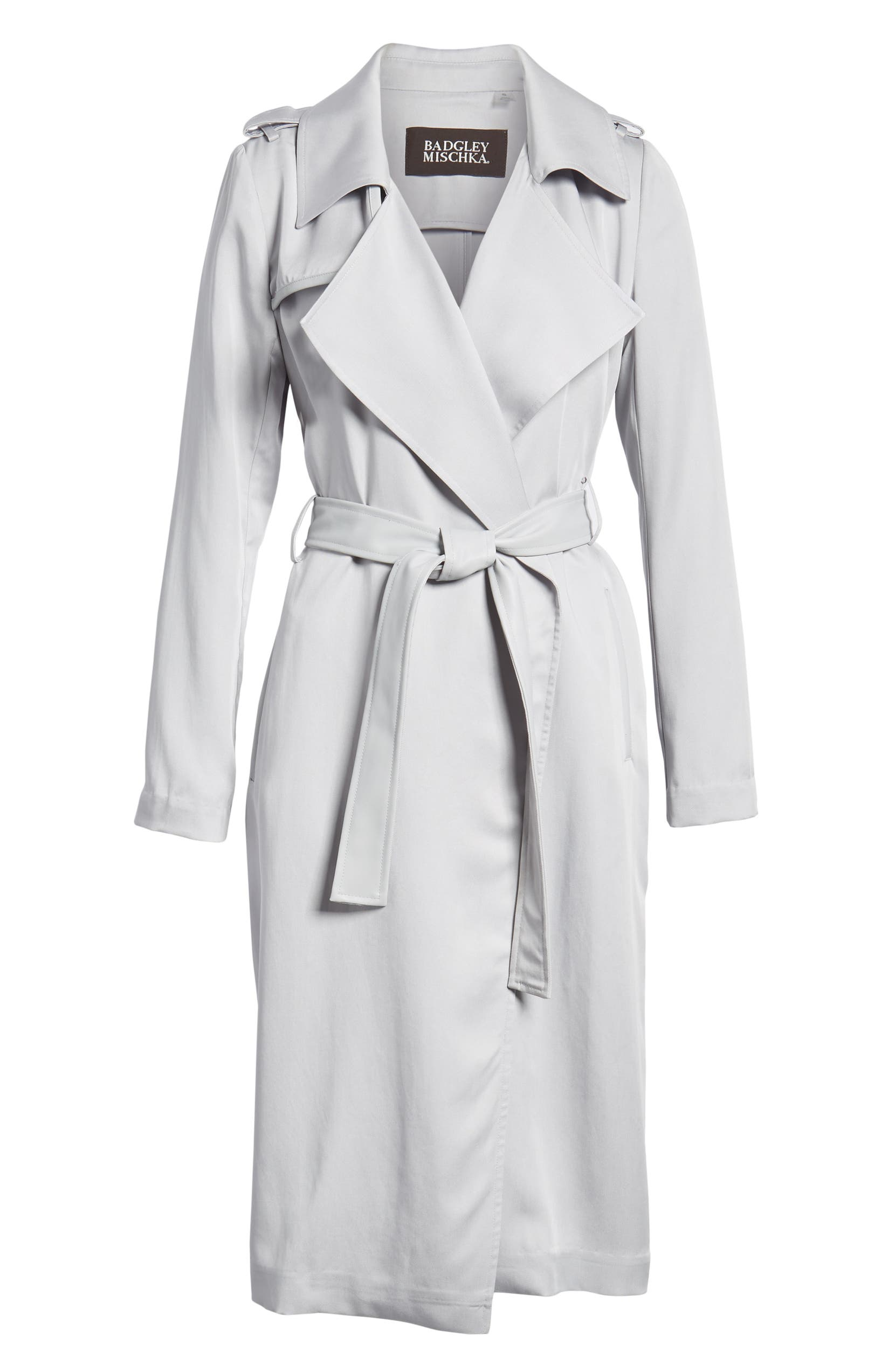 8f85062096e Badgley Mischka Faux Leather Trim Long Trench Coat | Nordstrom