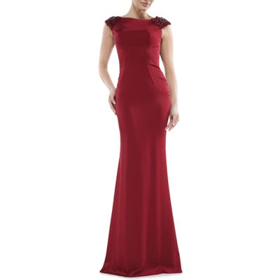 Marsoni Beaded Shoulder Satin Trumpet Gown, Red
