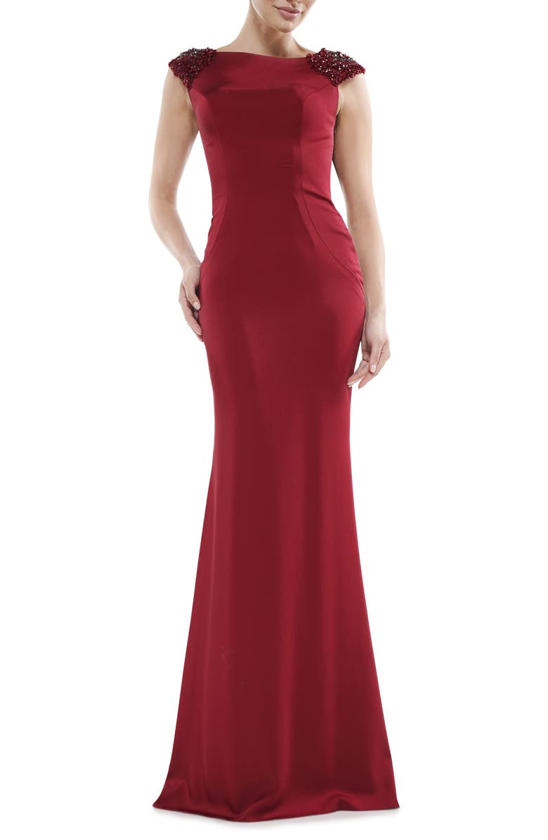 MARSONI Beaded Shoulder Satin Trumpet Gown, Main, color, 600
