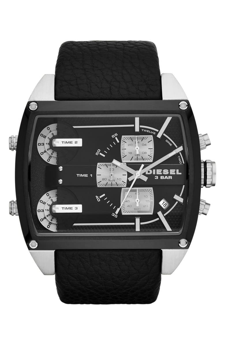 DIESEL<SUP>®</SUP> 'Mothership' Chronograph Leather Strap Watch, 53mm x 57mm, Main, color, 001