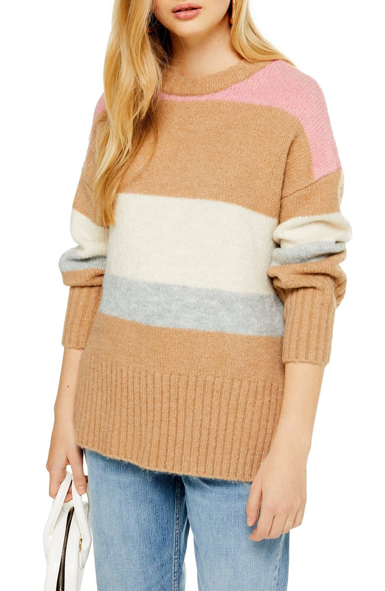 TOPSHOP Supersoft Stripe Crewneck Sweater, Main, color, CAMEL MULTI