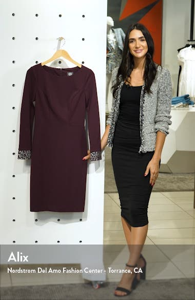 Embellished Long Sleeve Cocktail Dress, sales video thumbnail