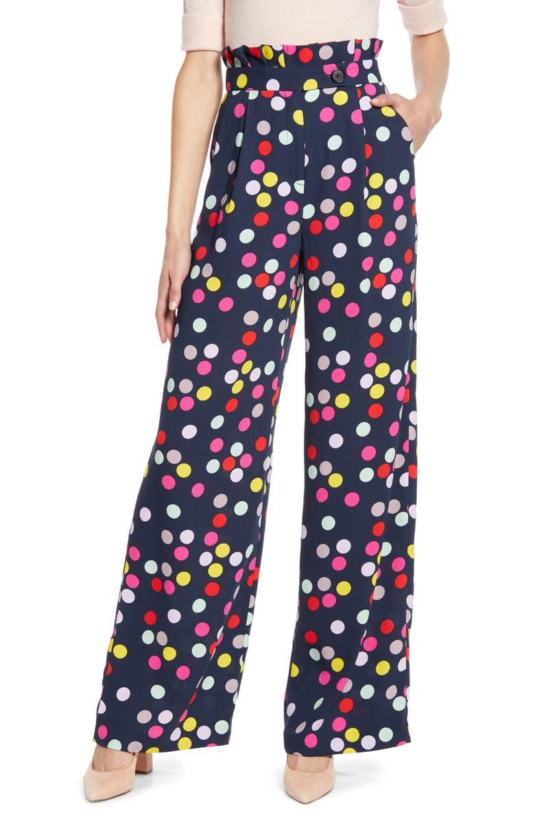 HALOGEN<SUP>®</SUP> x Atlantic-Pacific Wide Leg Paperbag Waist Pants, Main, color, NAVY MULTI CONFETTI DOTS