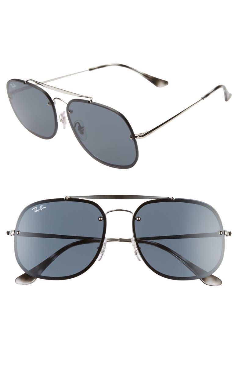 RAY-BAN 58mm Square Aviator Sunglasses, Main, color, SILVER