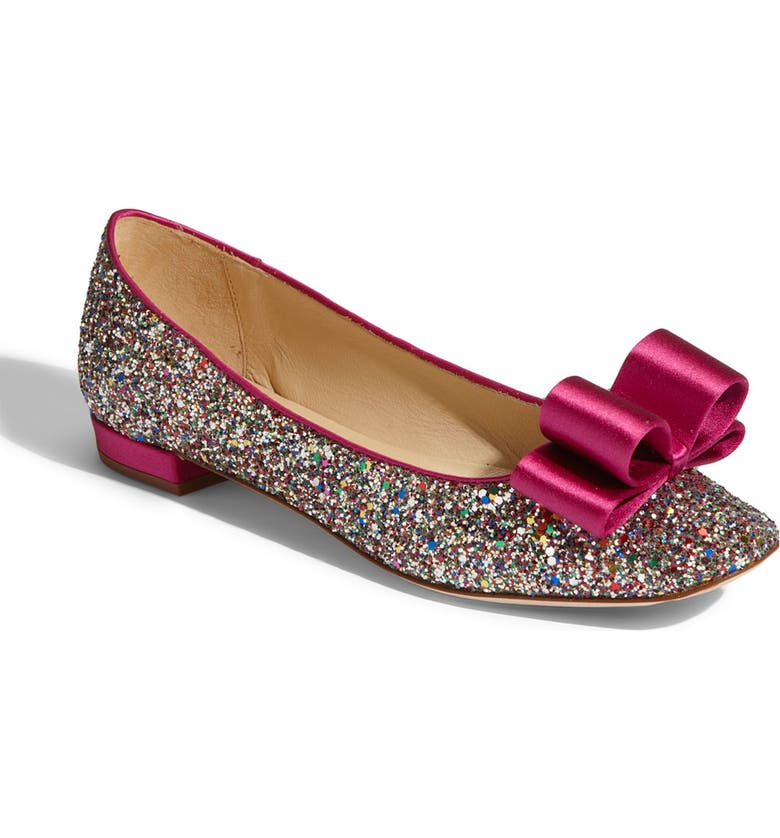 KATE SPADE NEW YORK 'nell' glitter flat, Main, color, 960