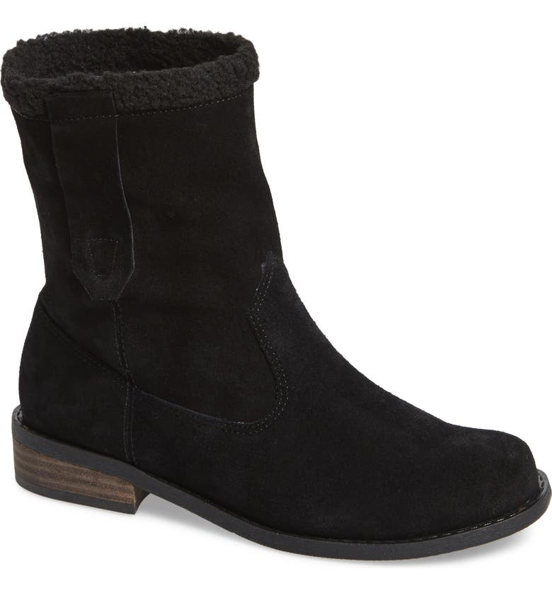 SOLE SOCIETY Verona Faux Shearling Boot, Main, color, BLACK/ BLACK SUEDE