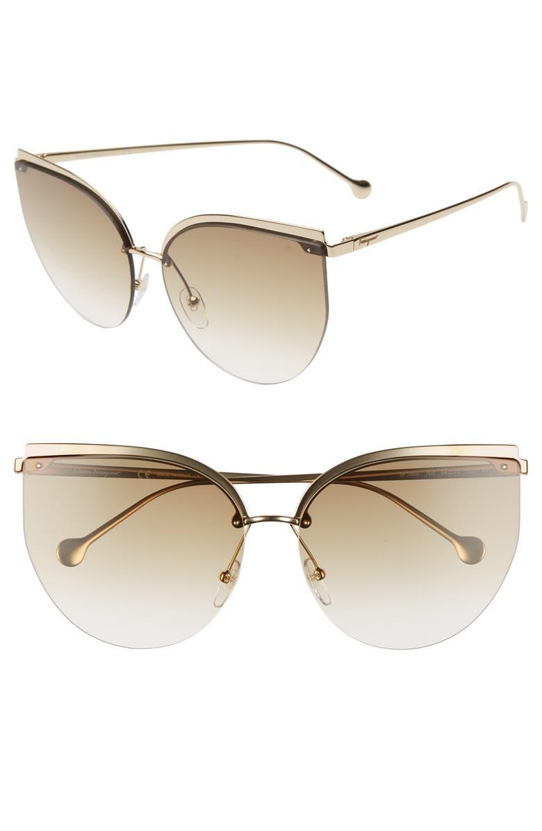 SALVATORE FERRAGAMO 64mm Oversize Rimless Cat Eye Sunglasses, Main, color, SHINY GOLD/ BROWN