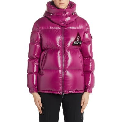 Moncler Wilson Hooded Quilted Down Puffer Jacket, (fits like 0-2 US) - Pink