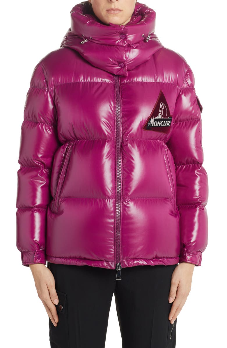 MONCLER Wilson Hooded Quilted Down Puffer Jacket, Main, color, PURPLE