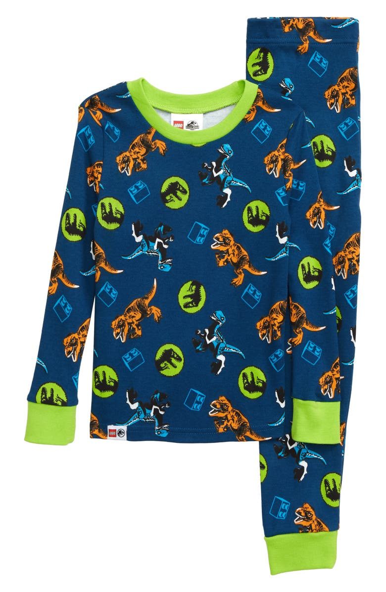 LEGO<SUP>®</SUP> Jurassic World Fitted Two-Piece Pajamas, Main, color, NAVY