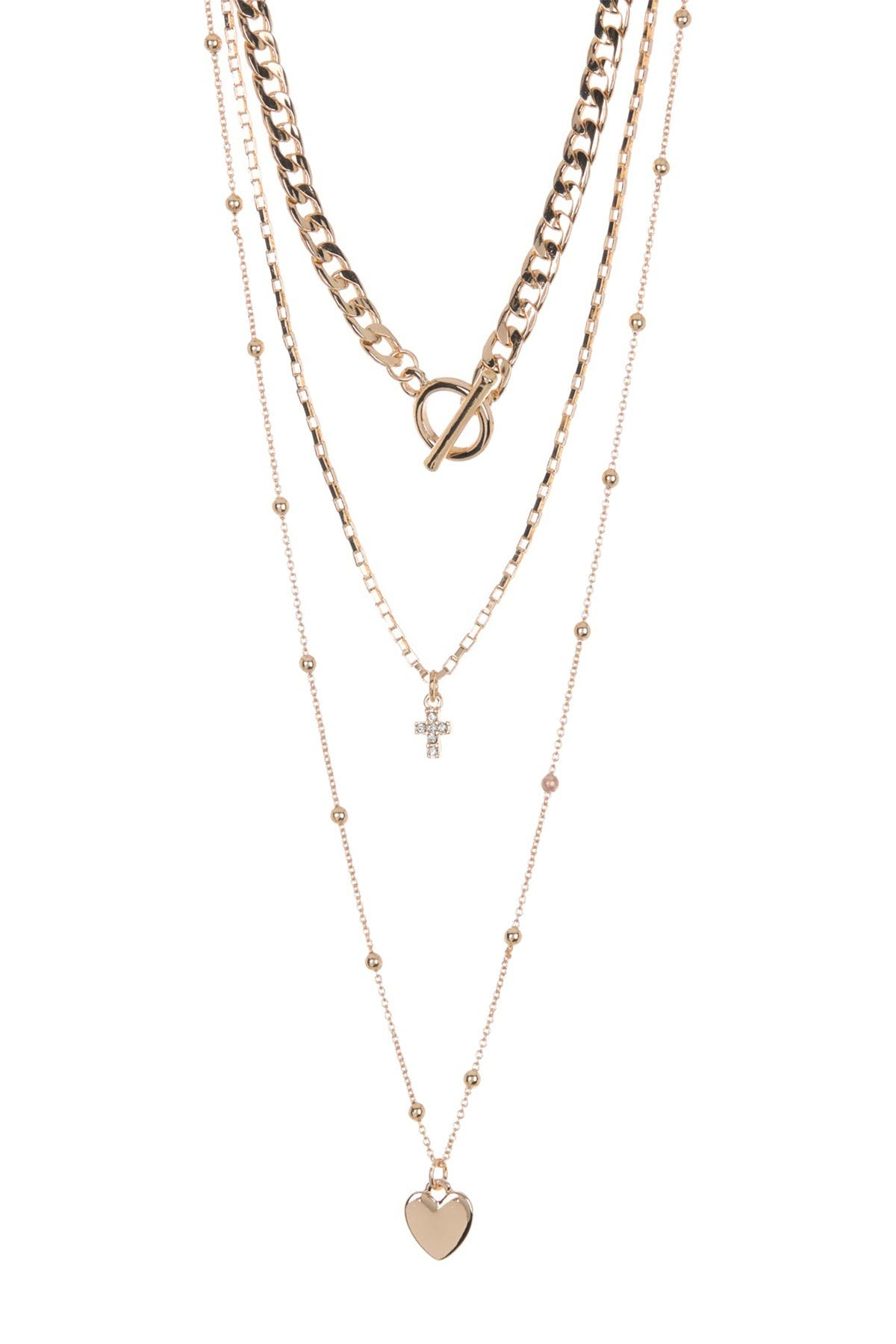 Image of AREA STARS Cross Heart Layered Necklace Set