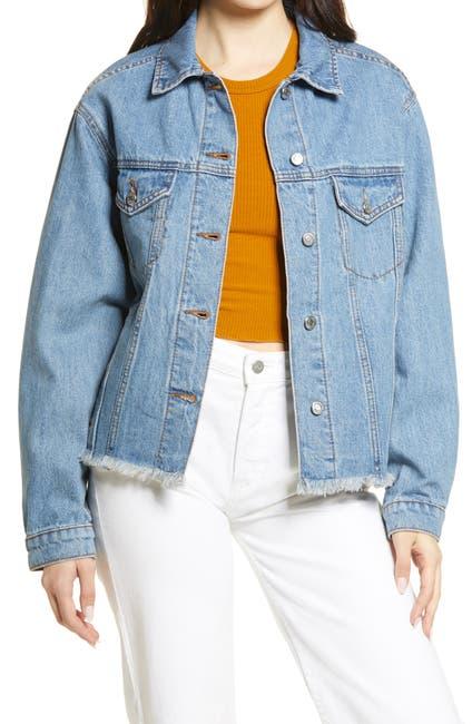Image of TOPSHOP Oversize Raw Hem Denim Jacket