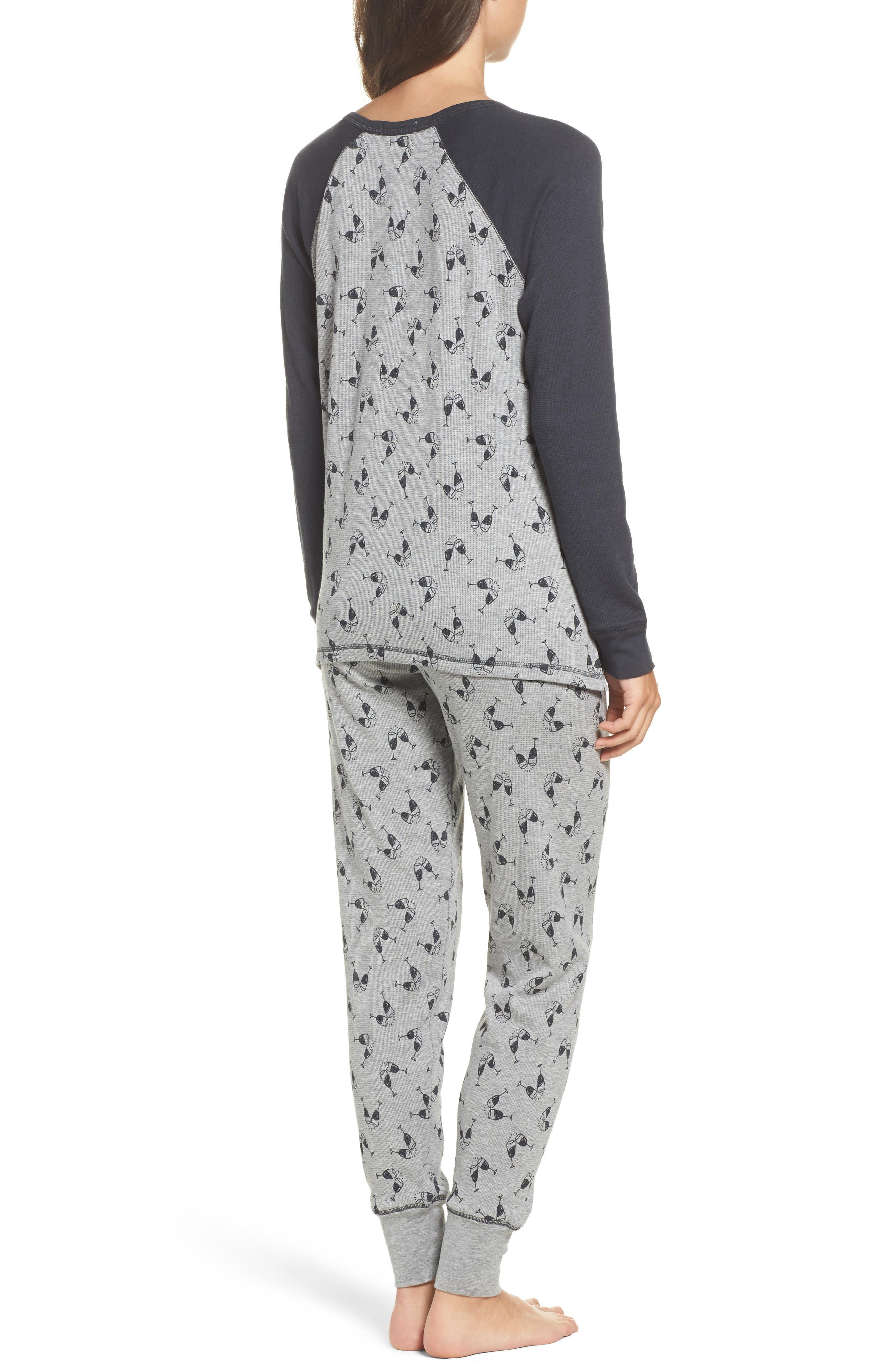 PJ Salvage Womens Printed Henley Placket Drawstring Waist Thermal Pajamas Set M