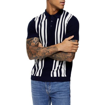 Topman Ronson Stripe Polo, Blue