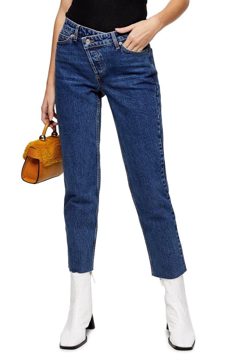 TOPSHOP Wrap Straight Leg Jeans, Main, color, MID DENIM