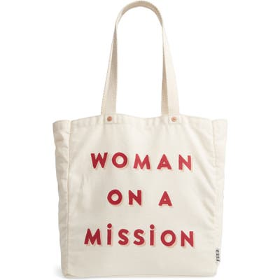 Feed Woman On A Mission Canvas Tote - Ivory