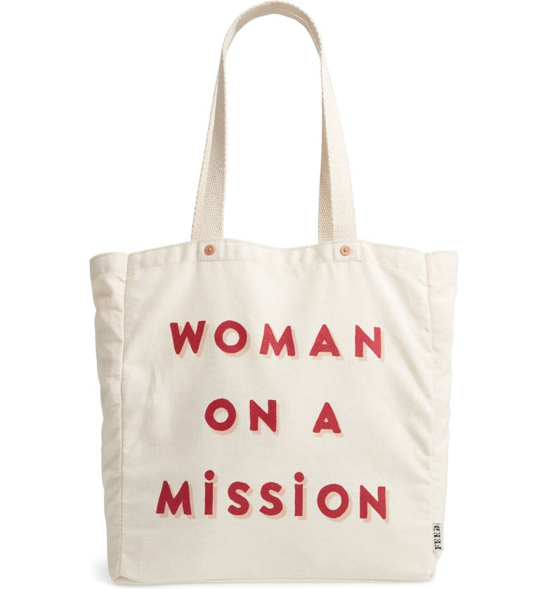Woman on a Mission Canvas Tote, Main, color, NATURAL