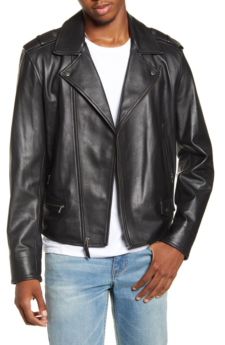 BP. x Alex Costa Leather Moto Jacket, Main, color, BLACK ROCK
