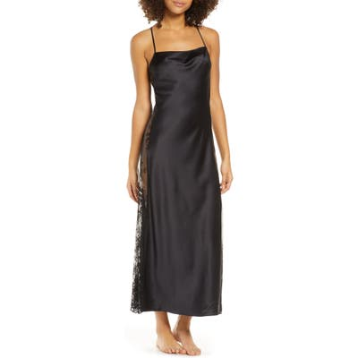 Rya Collection Darling Satin & Lace Nightgown, Black