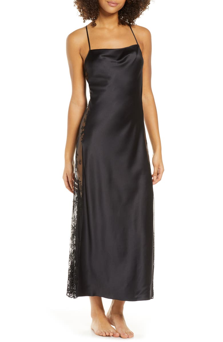 RYA COLLECTION Darling Satin & Lace Nightgown, Main, color, BLACK