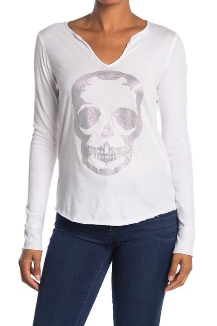 Image of Zadig & Voltaire Metallic Skull Print Long Sleeve T-Shirt