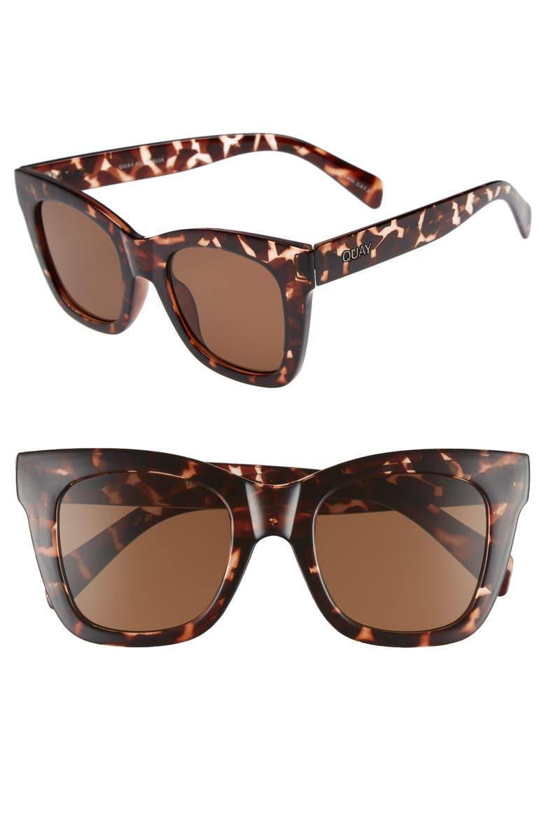QUAY AUSTRALIA After Hours 50mm Square Sunglasses, Main, color, TORT / BROWN