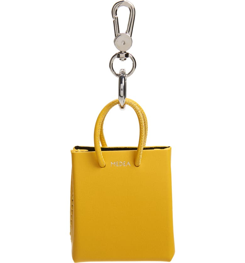 MEDEA Mini Prima Calfskin Leather Bag Charm, Main, color, MIMOSA