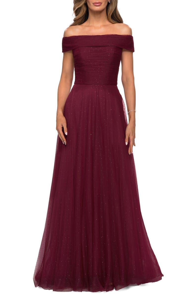 LA FEMME Embellished Off the Shoulder Mesh Gown, Main, color, BURGUNDY