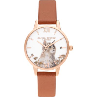 Olivia Burton Illustrated Animals Faux Leather Strap Watch, 30Mm