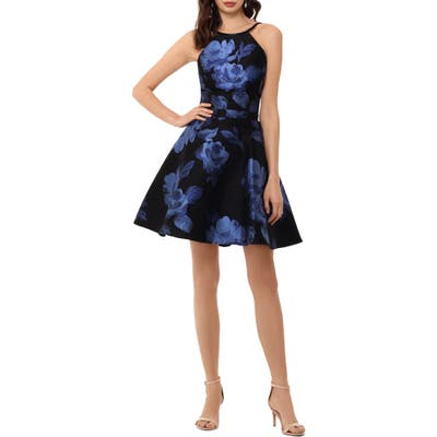 Xscape Floral Brocade Fit & Flare Dress, Black