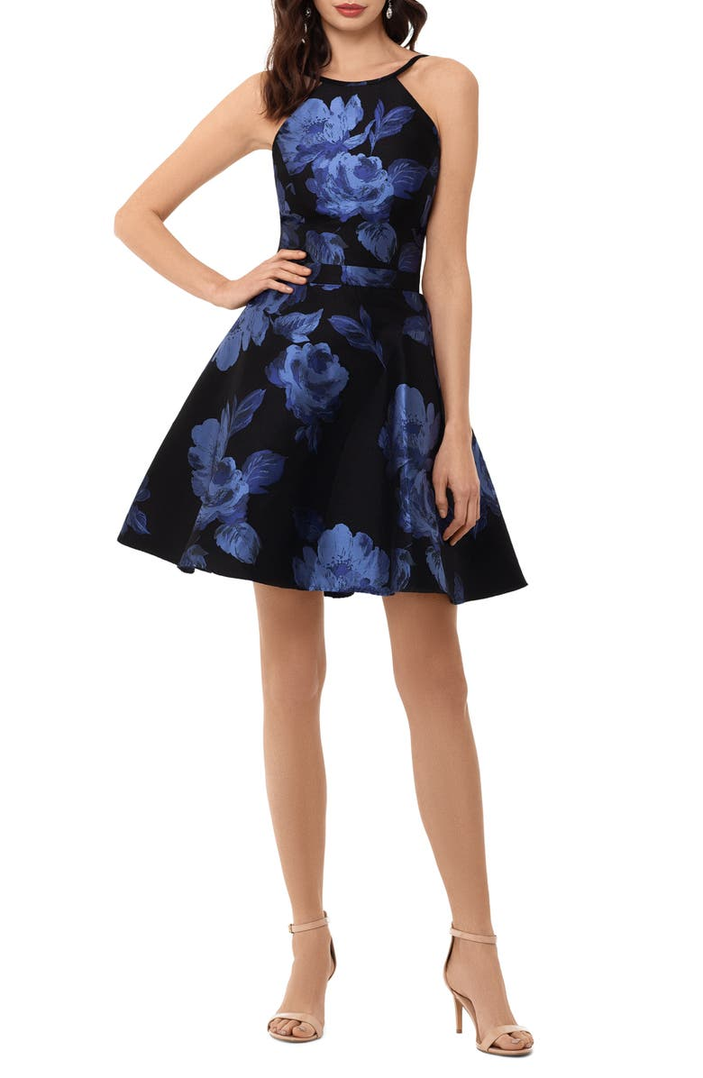 XSCAPE Floral Brocade Fit & Flare Dress, Main, color, BLACK/ BLUE