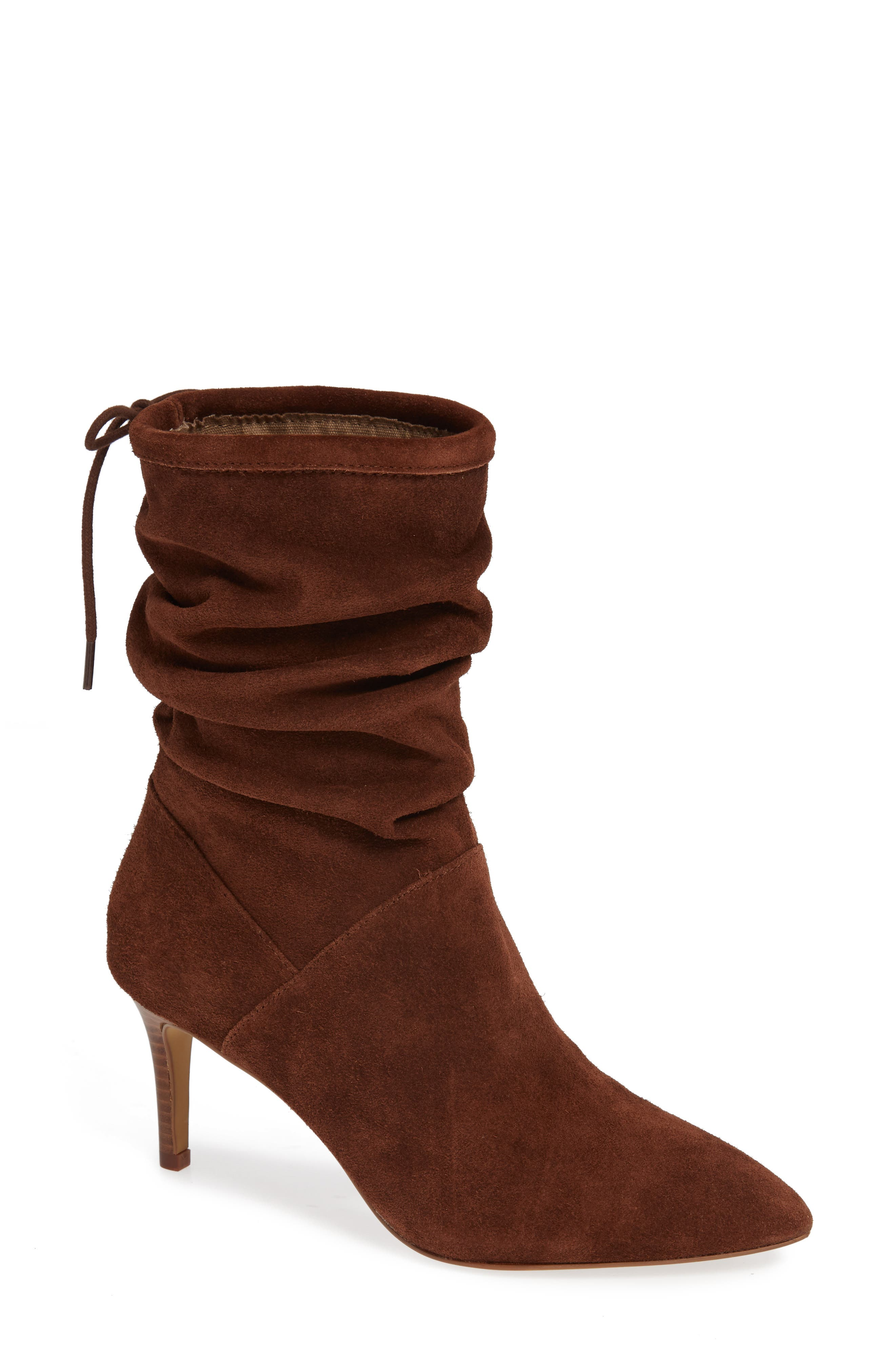 ,                             Natthan Slouchy Bootie,                             Main thumbnail 1, color,                             WALNUT SUEDE