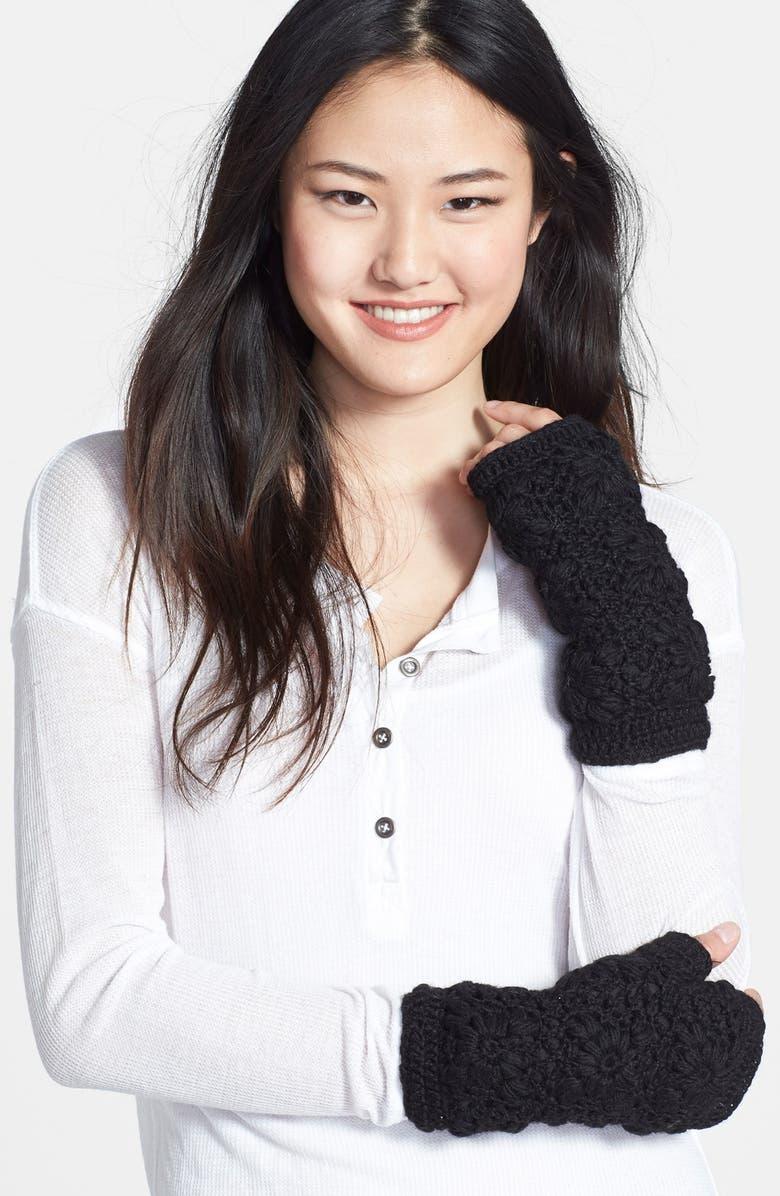 NIRVANNA DESIGNS Crochet Handwarmers, Main, color, BLACK