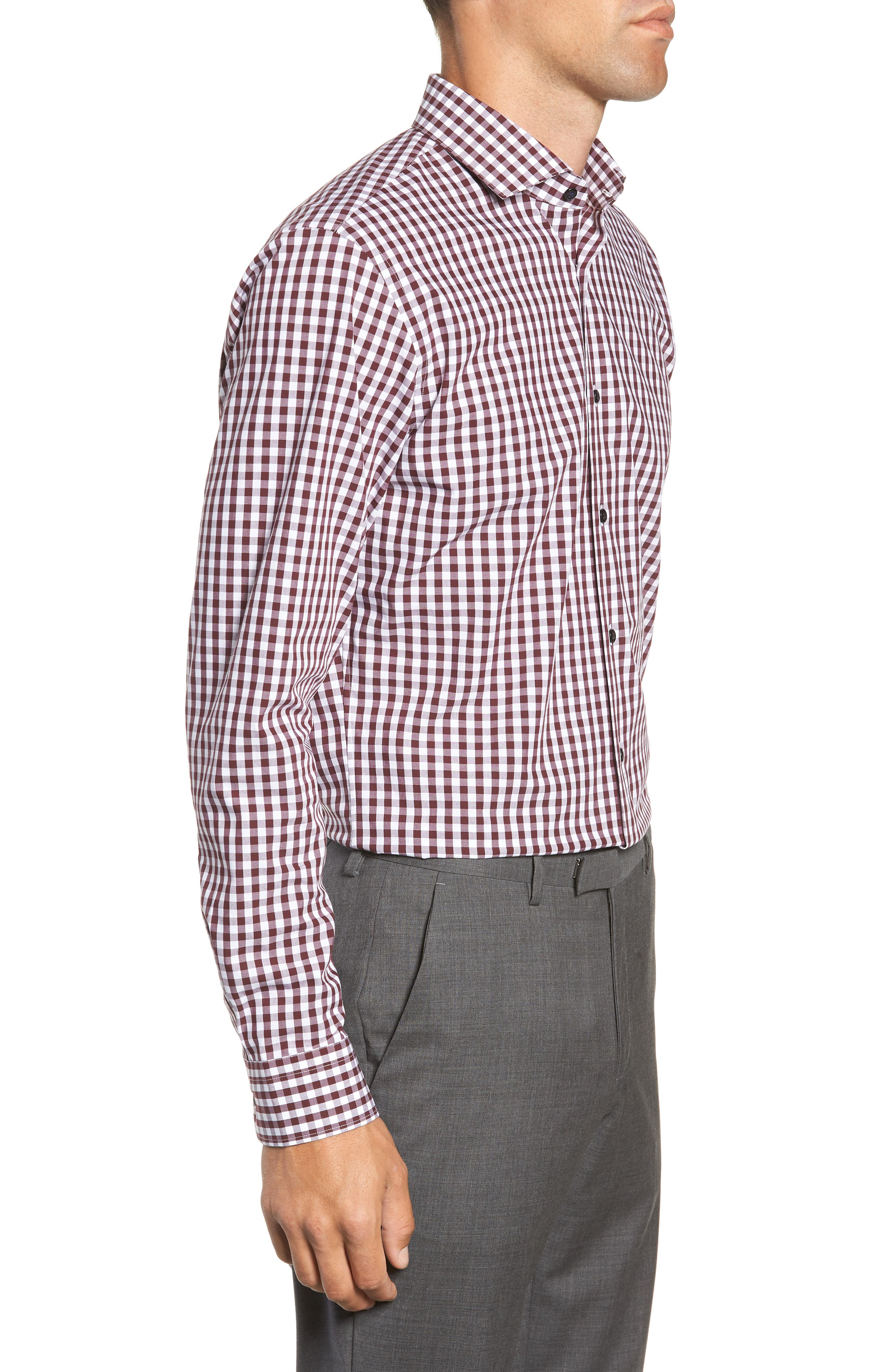 ,                             Tech-Smart Trim Fit Stretch Check Dress Shirt,                             Alternate thumbnail 54, color,                             930