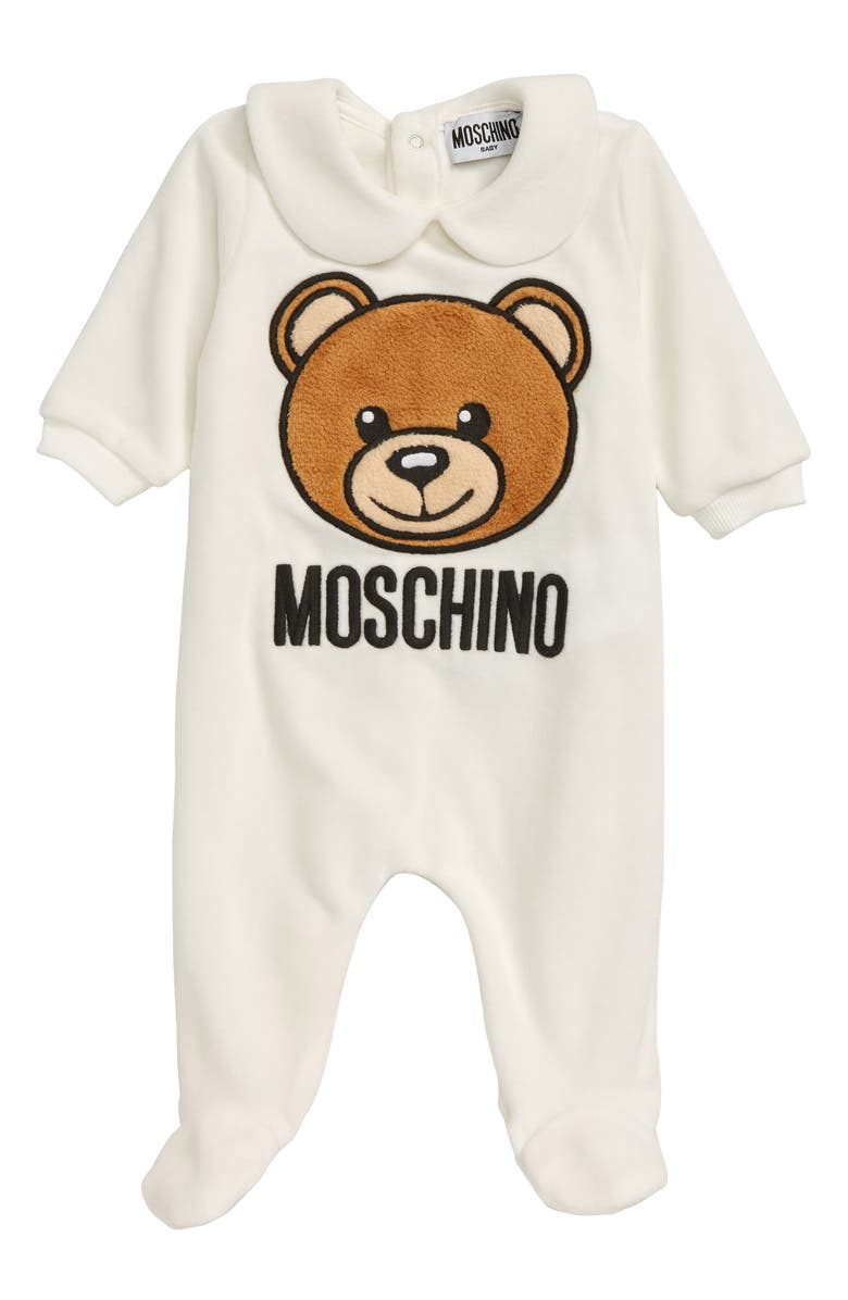 MOSCHINO Bear Chenille Footie, Main, color, 101