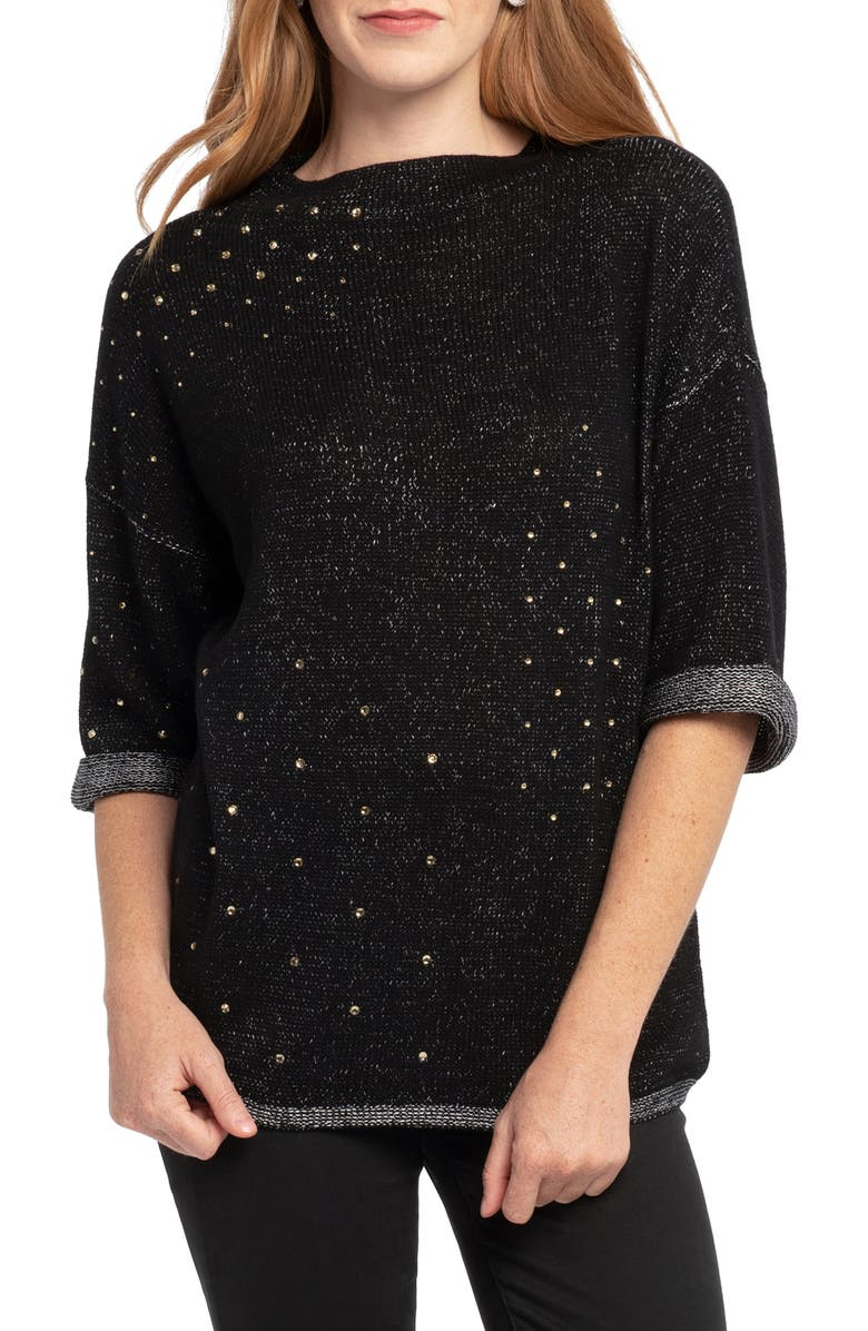 NIC+ZOE Starry Eyed Sweater, Main, color, BLACK ONYX