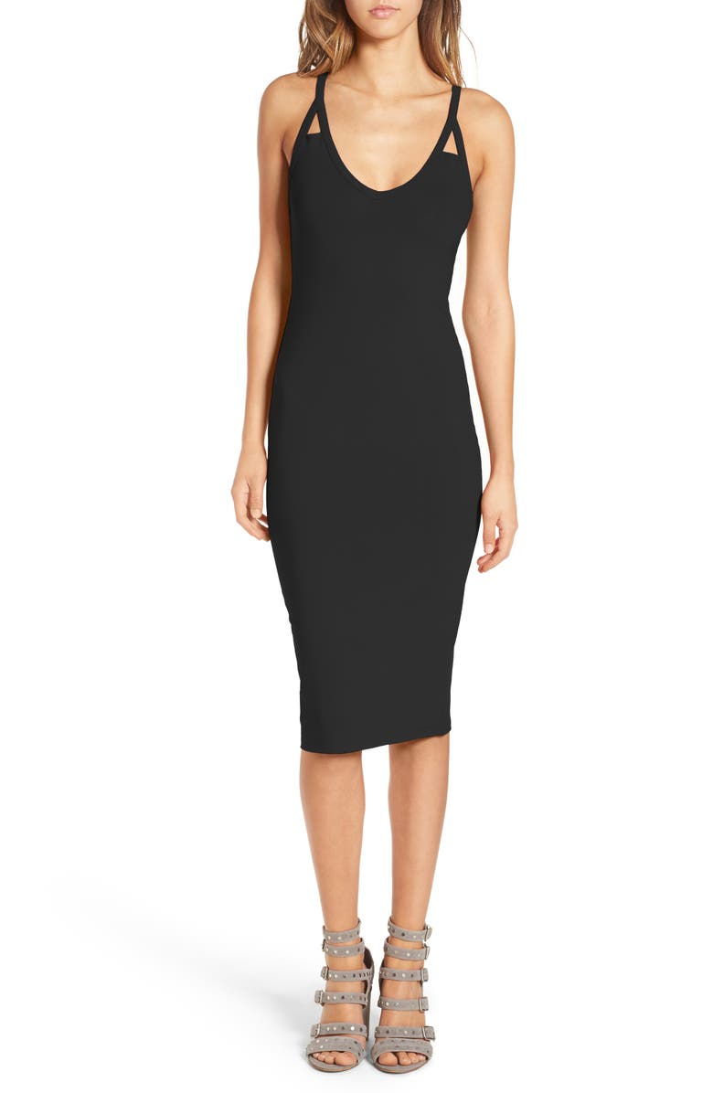 LEITH Cutout Strap Body-Con Dress, Main, color, 001